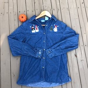 """Winter Christmas """"Ugly"""" Denim Button Up"""